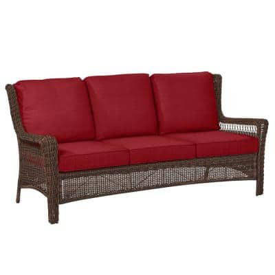 Park Meadows Brown Wicker Outdoor Patio Sofa with Standard Chili Red Cushions
