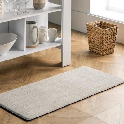 Casual Anti Fatigue Kitchen or Laundry Room Off White 20 in. x 42 in. Indoor Comfort Mat