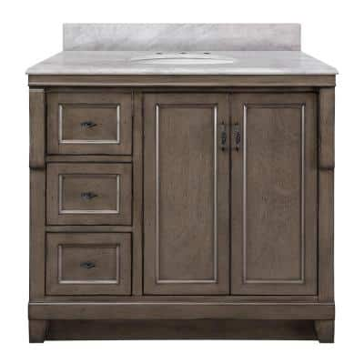 Naples 37 in. W x 22 in. D Bath Vanity with Left Drawers in Distressed Grey with Marble Vanity Top in Carrara White