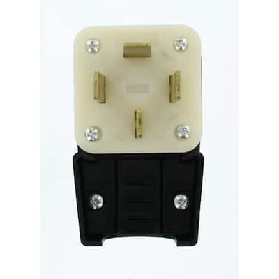 60 Amp 120/208-Volt Straight Blade Non-Grounding Angle Plug, Black/White