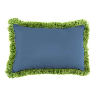 Sunbrella 19 in. x 12 in. Canvas Sapphire Blue Lumbar Outdoor Throw Pillow with Gingko Fringe