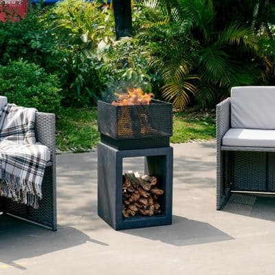 28.25 in. Outdoor Rectangular Wood Burning Faux Stone Fire Pit Chimenea