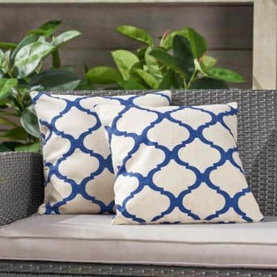 Fira Beige and Blue Square Outdoor Throw Pillows (Set of 2)