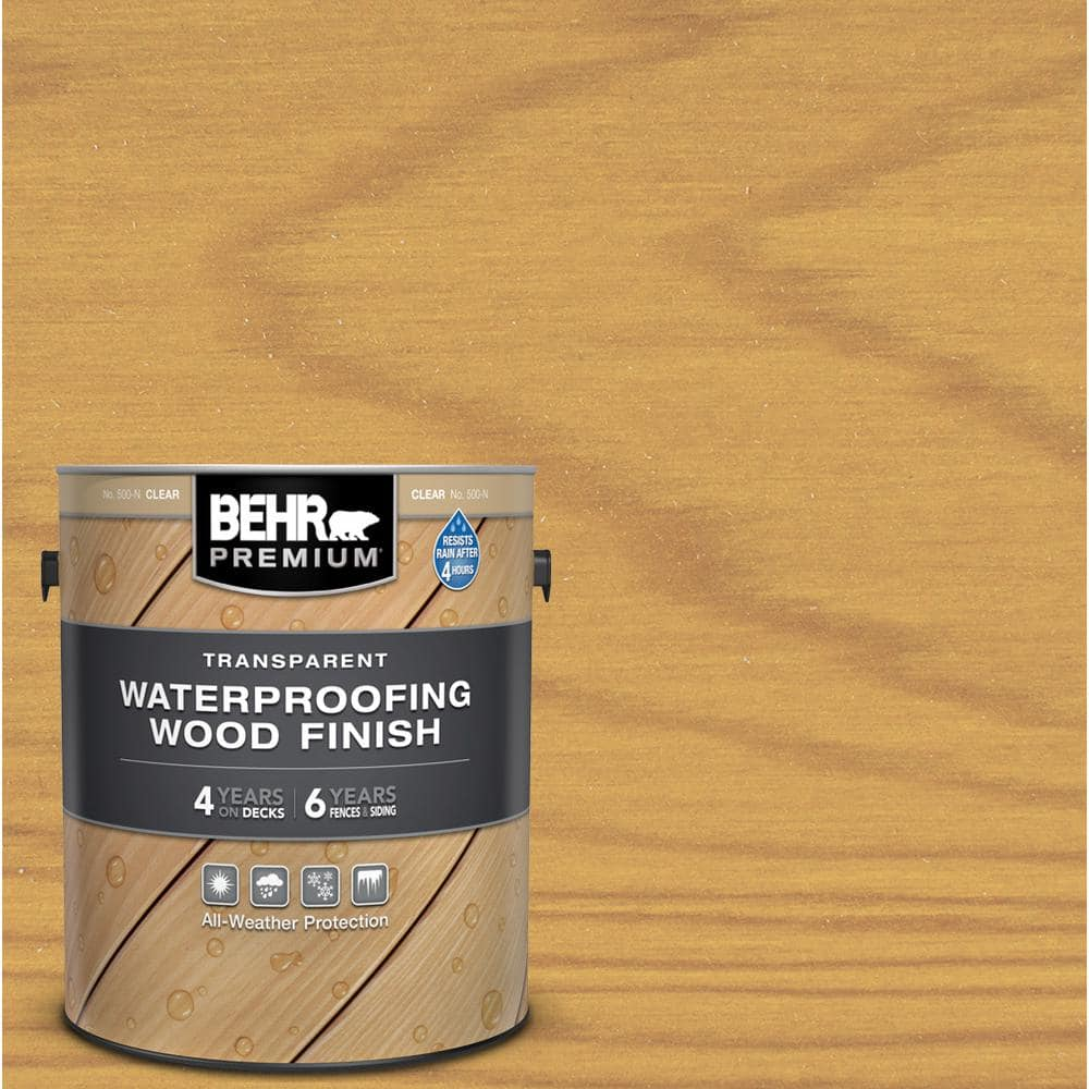 Behr Premium 1 Gal Clear Transparent Waterproofing Exterior Wood Finish 50001 The Home Depot