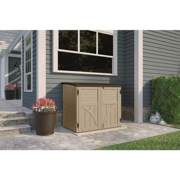 Suncast 2 Ft 8 In X 4 Ft 5 In X 3 Ft 9 5 In Resin Horizontal Storage Shed Bms3400 The Home Depot