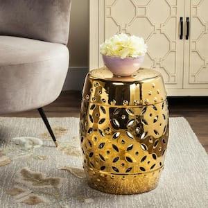 Lattice Coin Gold Ceramic Garden Stool