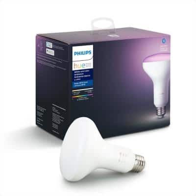 White and Color Ambiance BR30 LED 65W Equivalent Dimmable Smart Wireless Flood Light Bulb with Bluetooth