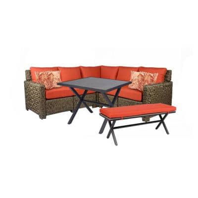 Laguna Point Brown Steel Wood Top Outdoor Patio Bench with CushionGuard Quarry Red Cushions
