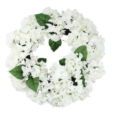 22 in. Unlit Cream and Green Floral Hydrangea Wreath