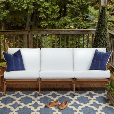 Saratoga Teak Outdoor Sofa in Natural with White Cushions