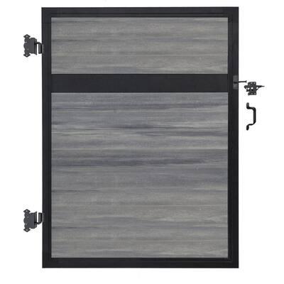 Euro Style 4 ft. W x 6 ft. H Oxford Grey Aluminum/Composite Estate Adjustable Fence Gate