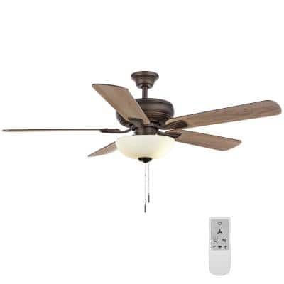Rothley II 52 in. Bronze LED Smart Ceiling Fan with Light and Remote Works with Google Assistant and Alexa