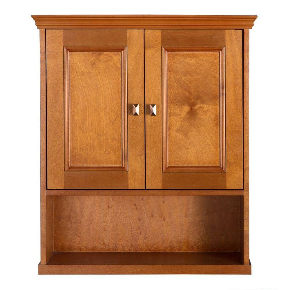Home Decorators Collection Exhibit 23 3 4 In W Bathroom Storage Wall Cabinet In Rich Cinnamon Triw2427 The Home Depot
