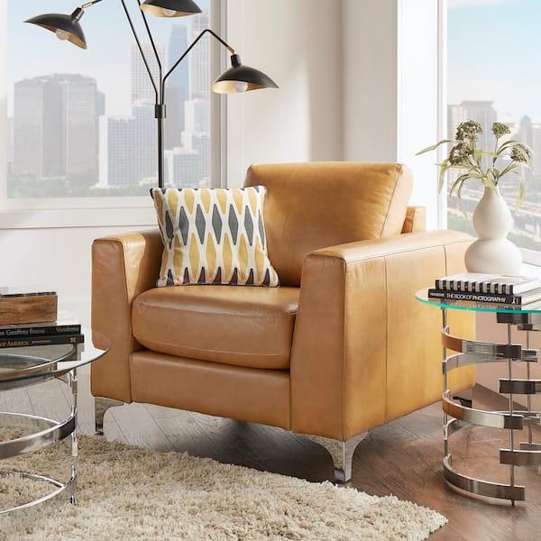 Homesullivan Russel Caramel Leather Arm, Leather Living Room Chair