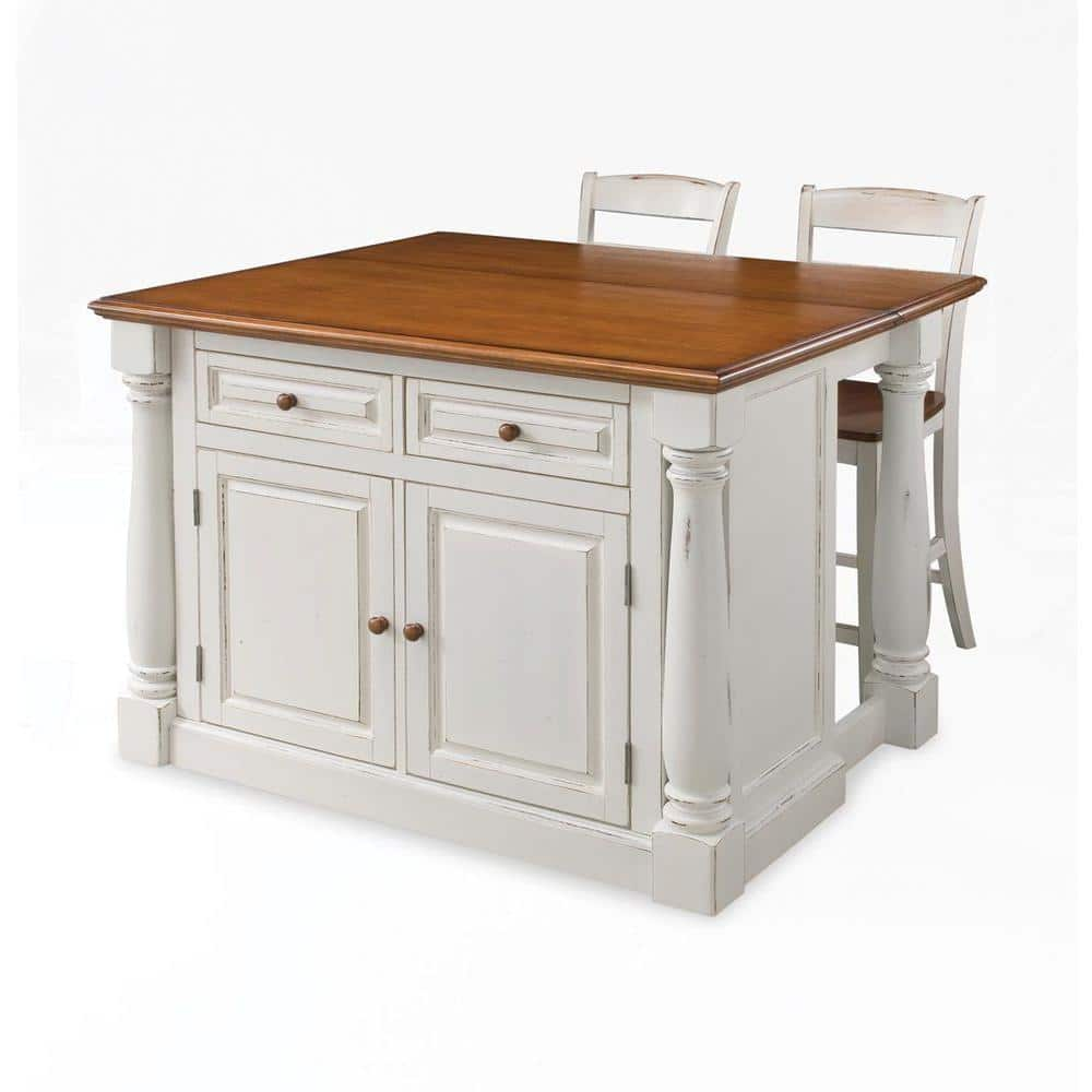 Homestyles Monarch White Kitchen Island With Seating 5020 948 The Home Depot