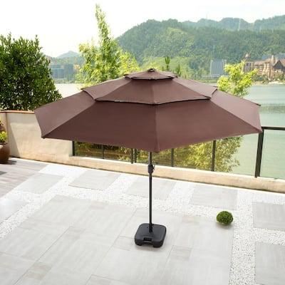 9.8 ft. Solar-Powered Light-UP Tilt Market Umbrella With Base in Brown