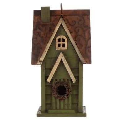 12 in. H Distressed Solid Wood Birdhouse
