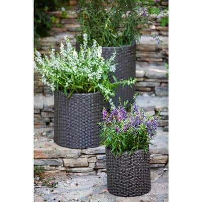 Round Brown Rattan Resin Planters (Set of 3)