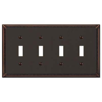 Imperial Bead 4 Gang Toggle Metal Wall Plate - Aged Bronze