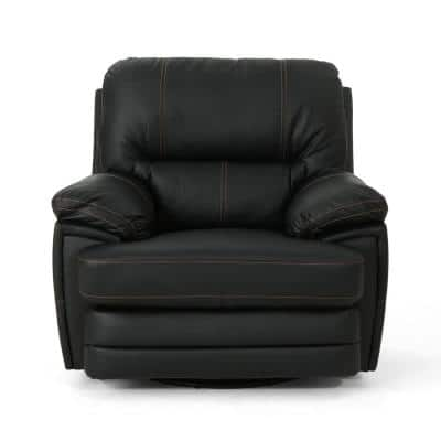 Elodie 40 in. Width Big and Tall Black Faux Leather Power Reclining Wall Hugger Recliner