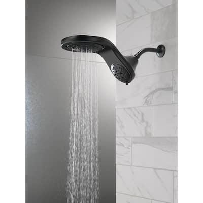 HydroRain Two-in-One 5-Spray 6 in.  Double Wall Mount Fixed H2Okinetic Shower Head in Matte Black
