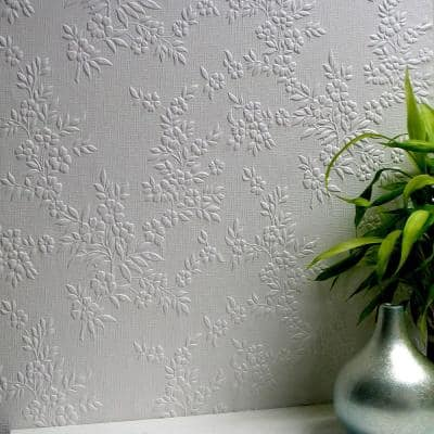 Portland Paintable Anaglytpa Original White & Off-White Wallpaper Sample