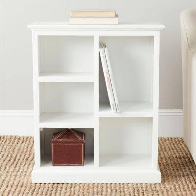 30.1 in. White Wood 5-shelf Etagere Bookcase with Storage