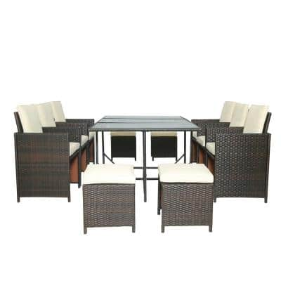 Brown 11-Piece Wicker Outdoor Dining Set with Beige Cushions