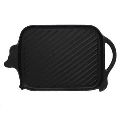 French Enameled 8.75 in. Cast Iron Grill Pan in Black