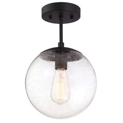 Gracelyn 9 in. Matte Black Ceiling Light Semi-Flush Mount
