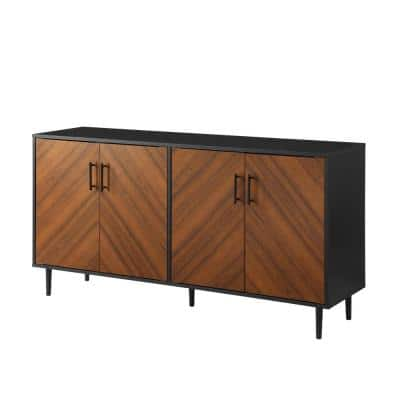 Acorn Bookmatch and Solid Black Mid Century Sideboard