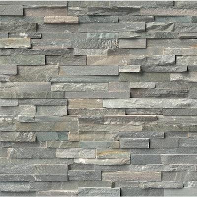 Sierra Blue 4.5 in. x 9 in. Mini Ledger Panel Corner Natural Split Face Quartzite Wall Tile (4 sq. ft./Case)