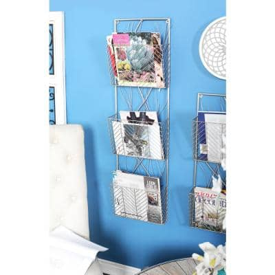 Silver 3-Tier Wall Shelf with Branch-Inspired Design