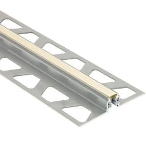 Dilex-AKWS Aluminum with Sand Pebble Insert 11/32 in. x 8 ft. 2-1/2 in. PVC and Metal Movement Joint Tile Edging Trim