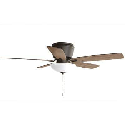 Melrose 52 in. Indoor LED Hugger Bronze Dry Rated Ceiling Fan with Light Kit and 5 Reversible Blades