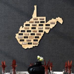 21 in. x 14 in. Wooden West Virginia Wine Cork Map