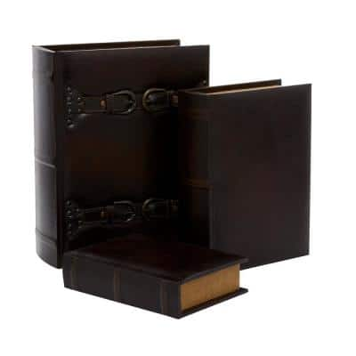 Vintage Rectangular Wood and Synthetic Leather Strapped Book Boxes (Set of 3)