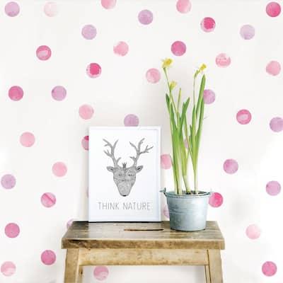 Pink Watercolor Dots Wall Art Kit
