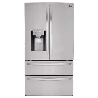 27.8 cu. ft. 4 Door French Door Smart Refrigerator with 2 Freezer Drawers and Wi-Fi Enabled in Stainless Steel