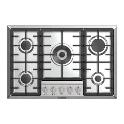 30 in. Gas Cooktop in Stainless Steel with 5 Defendi Italian Burners including Triple Ring Power and Simmer Burner