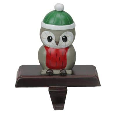 6 in. Owl in a Winter Hat Christmas Stocking Holder