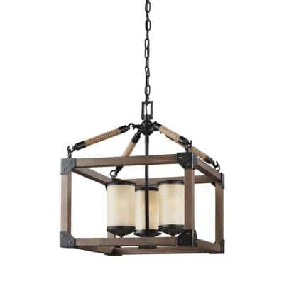 Dunning 3-Light Weathered Gray and Distressed Oak Rustic Farmhouse Single Tier Hanging Candlestick Chandelier