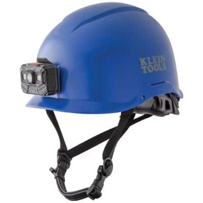 Safety Helmet, Non-Vented-Class E, with Rechargeable Headlamp, Blue