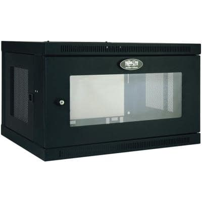 23.5 in. SmartRack 6U Low-Profile Switch Depth Wall-Mount Rack Structured Media Enclosure Cabinet with Acrylic Window