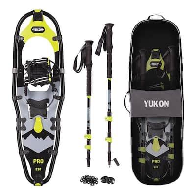 Charlie's Pro Series Men's Vest Snowshoe Kit with Poles and Bag, Black/Yellow