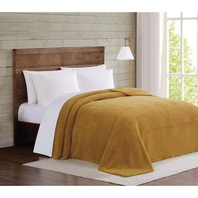 Marshmallow Sherpa Twin XL Blanket in Mustard
