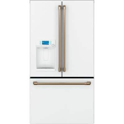 22.2 cu. ft. French Door Refrigerator with Hot Water Dispenser in Matte White, Counter Depth and Fingerprint Resistant