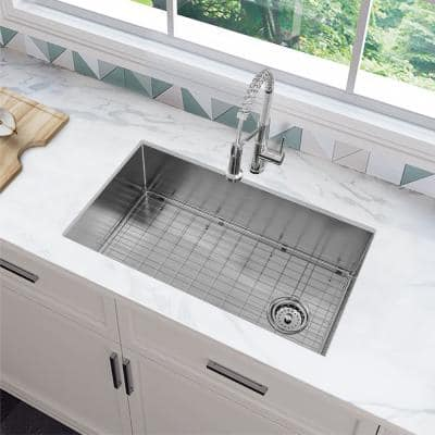 Zero Radius All-in-One Undermount 16-Gauge Stainless Steel 32 in. Single Bowl Kitchen Sink in Brushed Finish with Faucet