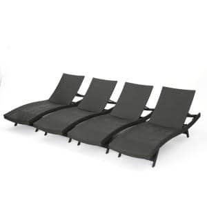 Miller Grey 4-Piece Wicker Adjustable Outdoor Chaise Lounge