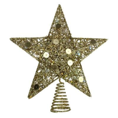 11.5 in. LED Lighted Gold Glittered Star Christmas Tree Topper with Multi-Lights